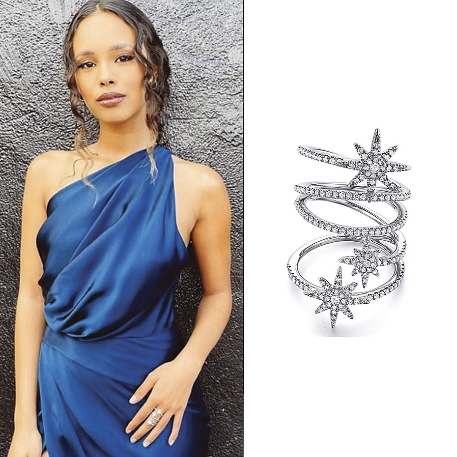 June 2021 Actress Alisha Boe wearing Gabriel & Co's 14K White Gold Wide Open Diamond Band and Star Station Statement Ring