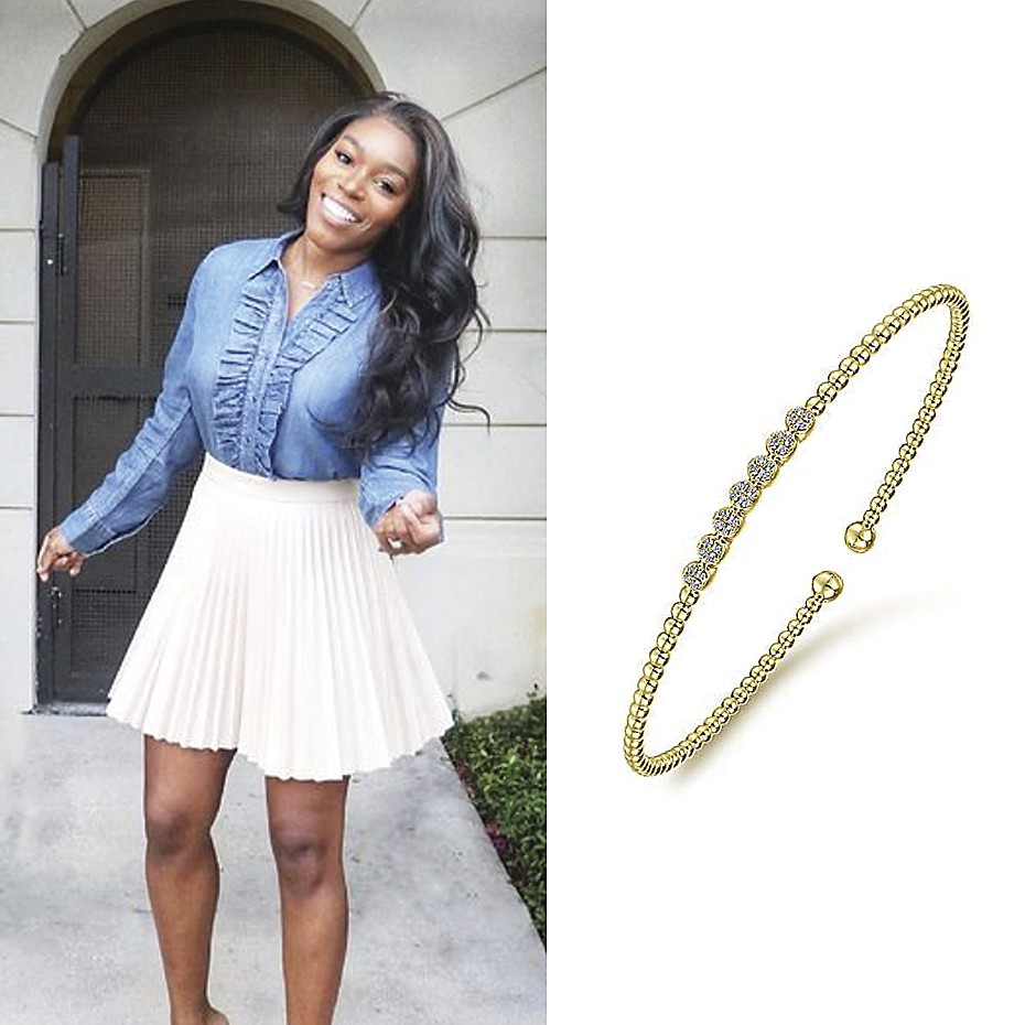 March 2021 Amanda M sharing her Gabriel & Co.'s rose gold bracelet on Instagram