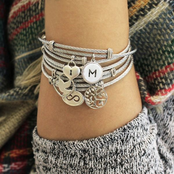 925 Silver/stainless Steel Steel My Heart Charm Bangle