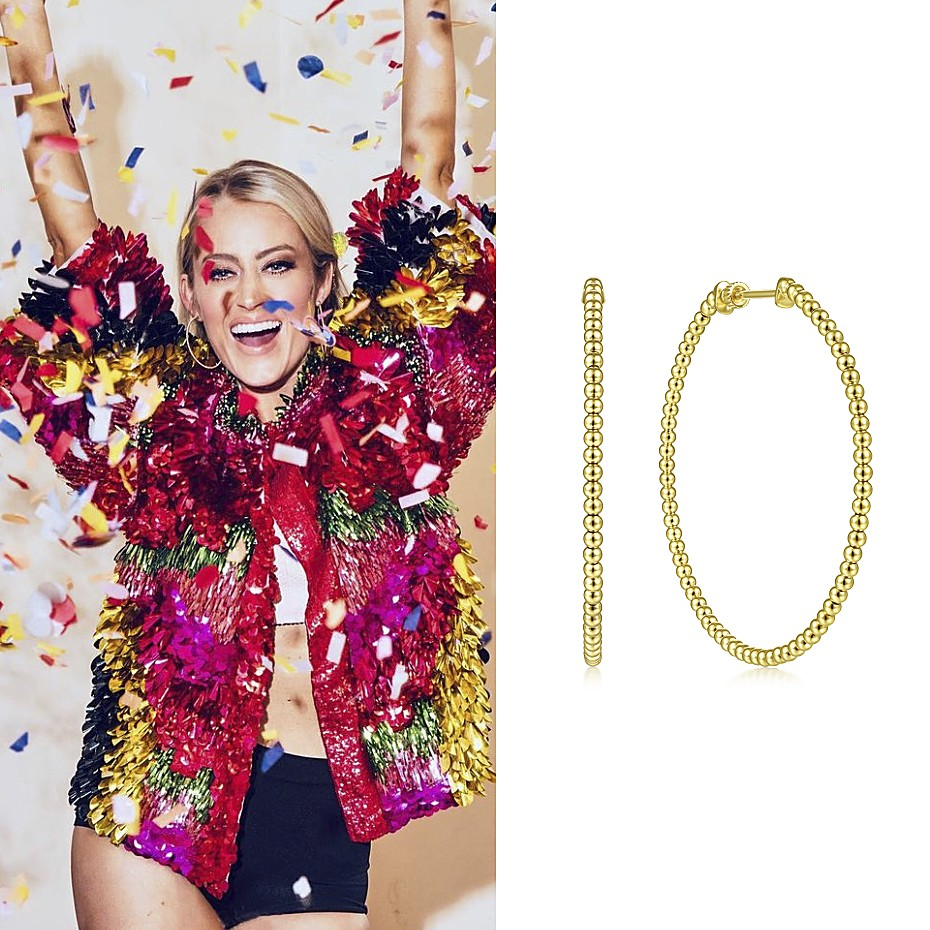 August 2021 Country singer Brooke Eden (49.4K) wearing Gabriel & Co's 14K Yellow Gold 50mm Bujukan Classic Hoop Earrings