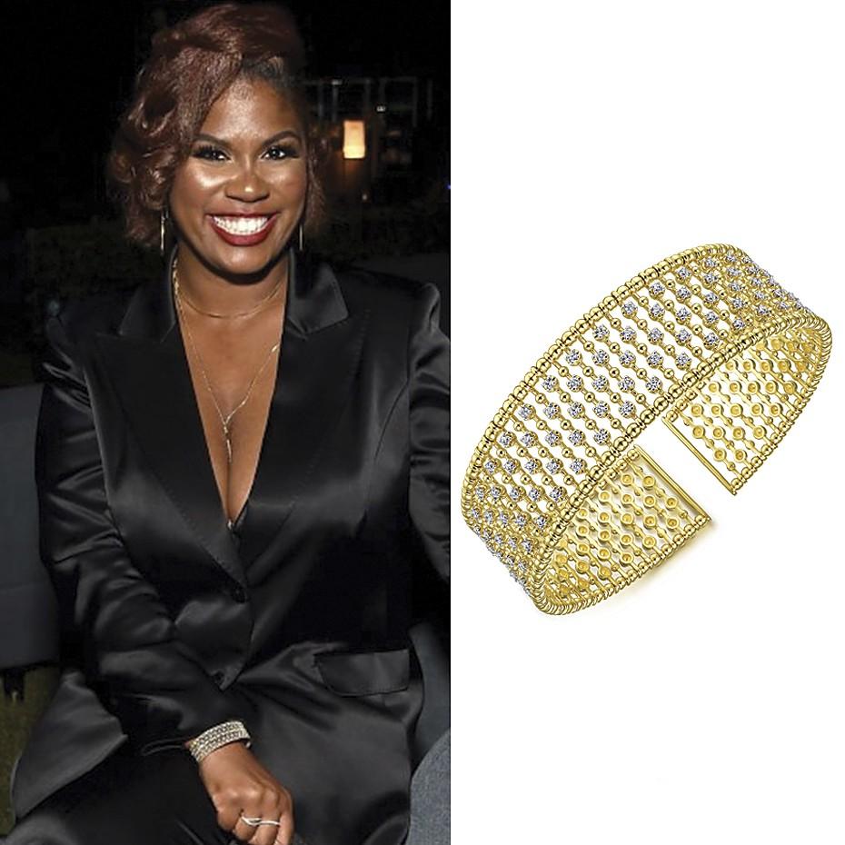 June 2021 Actress Candace Nicholas Lippman wearing Gabriel & Co's 14K Yellow Gold Bujukan Bead Cuff Bracelet with Diamond Stations