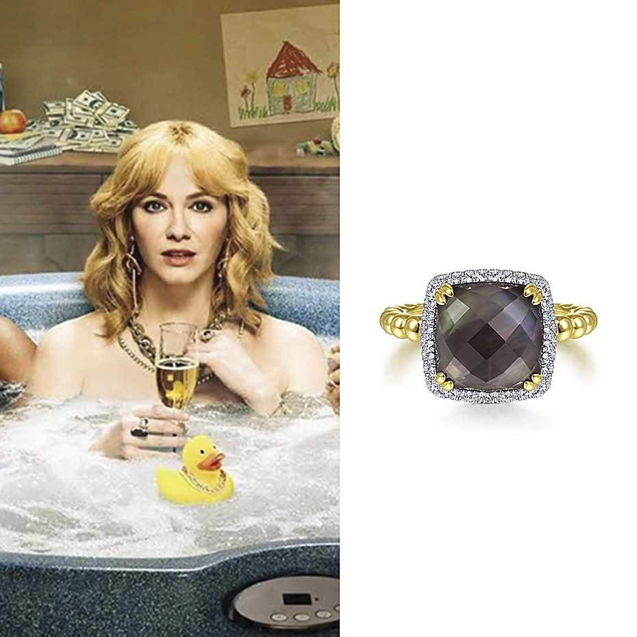 February 2021 Actress Christina Hendricks wearing Gabriel & Co.'s 14K Yellow Gold, Diamond, and Black Mother of Pearl Cushion Bujukan Ring in promo photos for the new season of her hit show, Good Girls. She looks great!