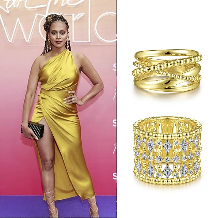 May 2021 Actress Corbin Reid wearing Gabriel & Co's rings