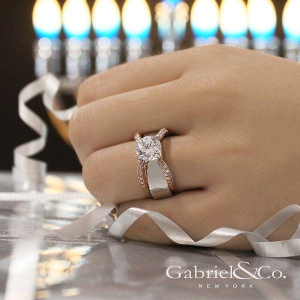 Willa 18k White And Rose Gold Round Straight Engagement Ring