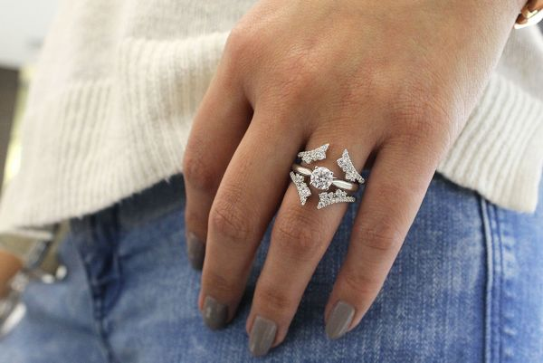 14k White Gold Contemporary Jacket Anniversary Band