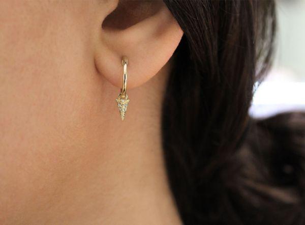 14k Yellow Gold Huggies Drop Earrings