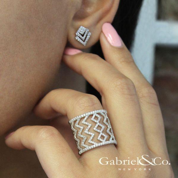 14k White Gold Art Moderne Stud Earrings