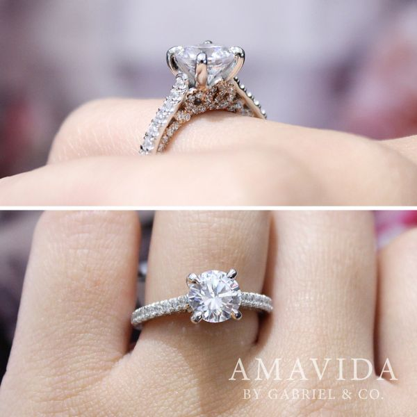 Ella 18k White And Rose Gold Round Straight Engagement Ring