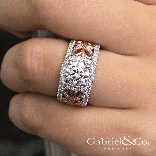 18k White And Rose Gold Round Halo Engagement Ring