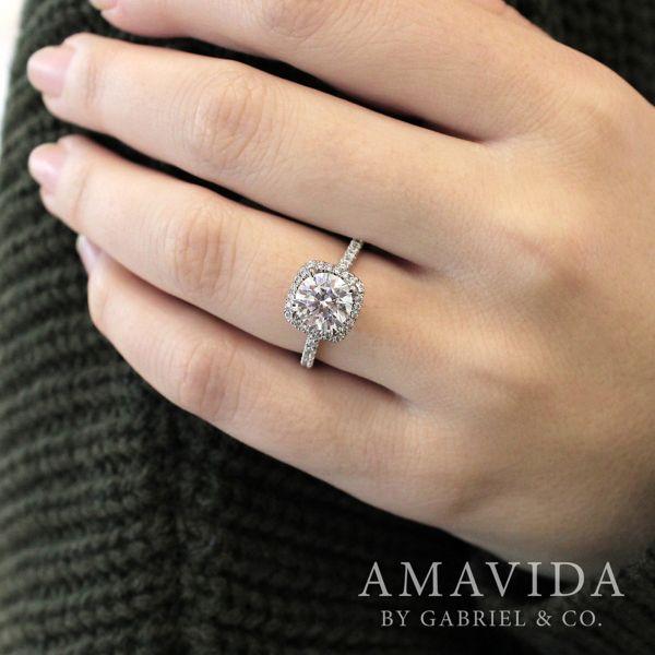 June 18k White Gold Round Halo Engagement Ring