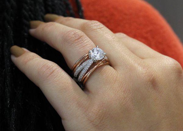 Desiree 18k Yellow And White Gold Round Straight Engagement Ring