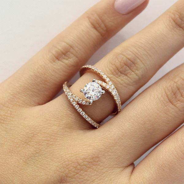 Nova 14k White And Rose Gold Round Split Shank Engagement Ring