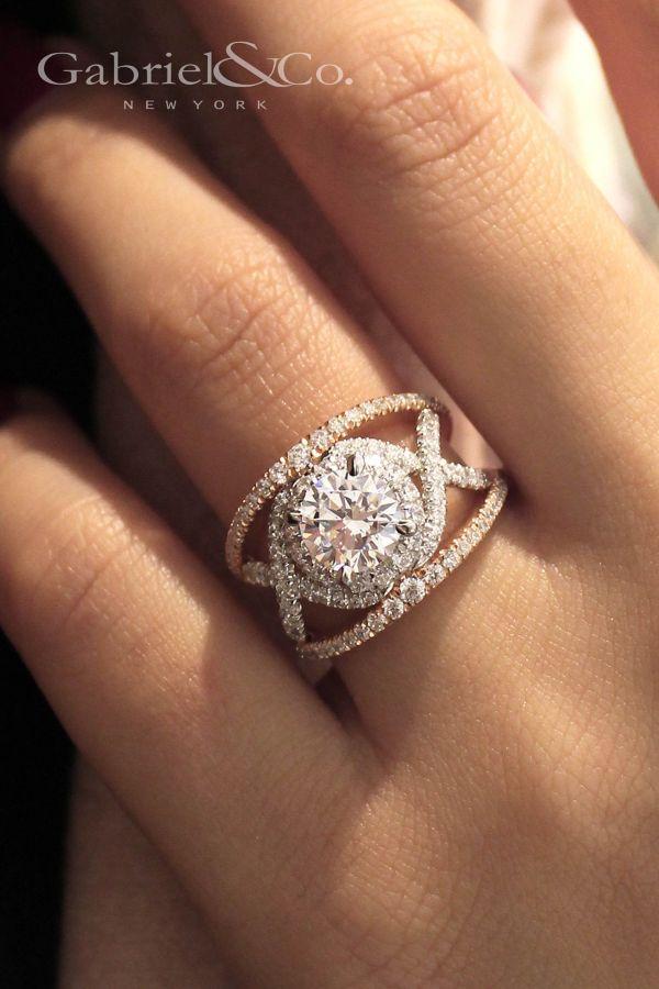 Gabriella 18k White And Rose Gold Round Split Shank Engagement Ring
