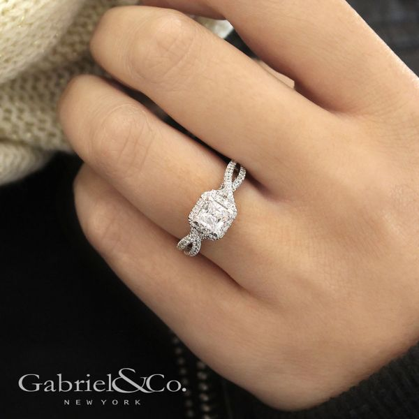 Freesia 14k White Gold Princess Cut Halo Engagement Ring