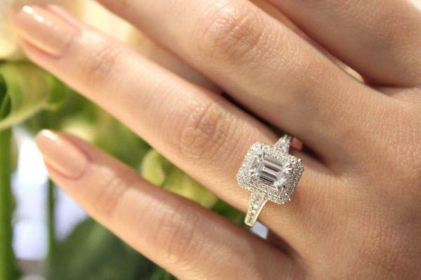 Jasmine 14k White Gold Emerald Cut Double Halo Engagement Ring