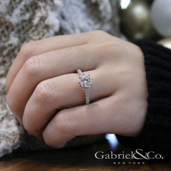 Angelina 14k White Gold Round Straight Engagement Ring