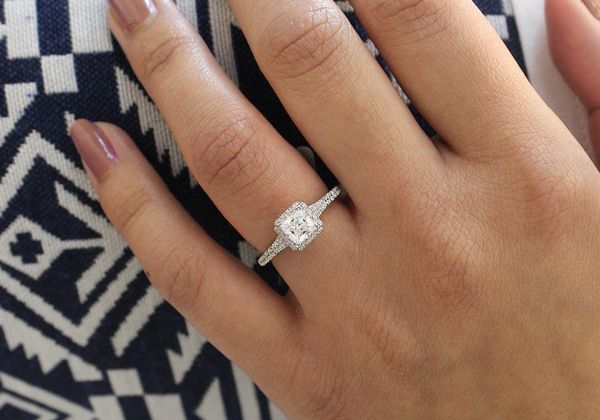 Balsam 14k White Gold Princess Cut Halo Engagement Ring