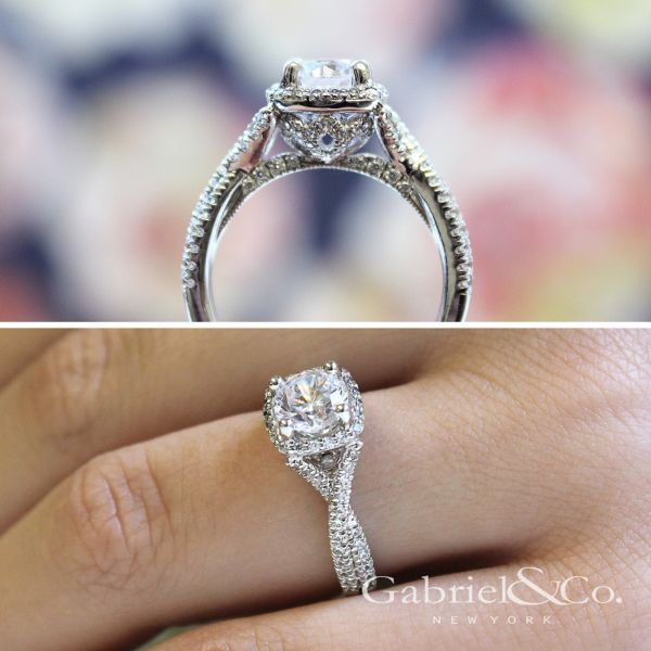 Aster 14k White Gold Round Halo Engagement Ring