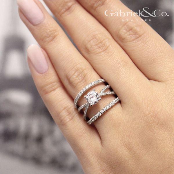 Titania 14k White Gold Round Split Shank Engagement Ring