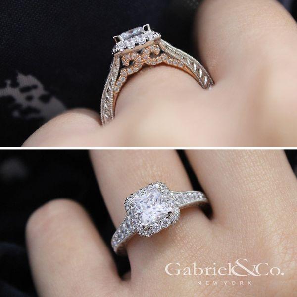 Anya 14k White And Rose Gold Princess Cut Halo Engagement Ring