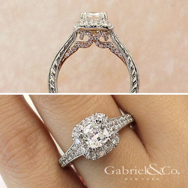 Callie 14k White And Rose Gold Cushion Cut Halo Engagement Ring