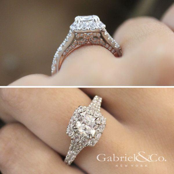Eliana 14k White And Rose Gold Cushion Cut Halo Engagement Ring