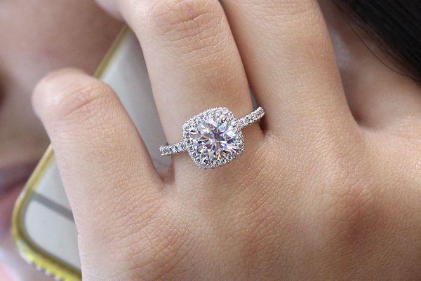 Bardot 18k White Gold Round Double Halo Engagement Ring