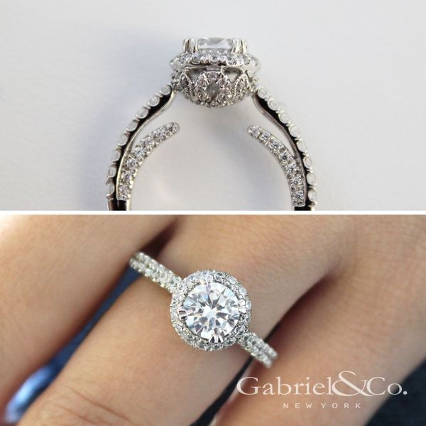 Holland 14k White Gold Round Halo Engagement Ring