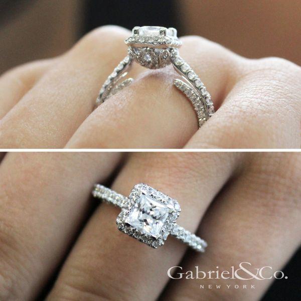 Sedona 14k White Gold Princess Cut Halo Engagement Ring