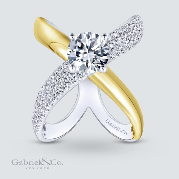 18k Yellow And White Gold Round Split Shank Engagement Ring