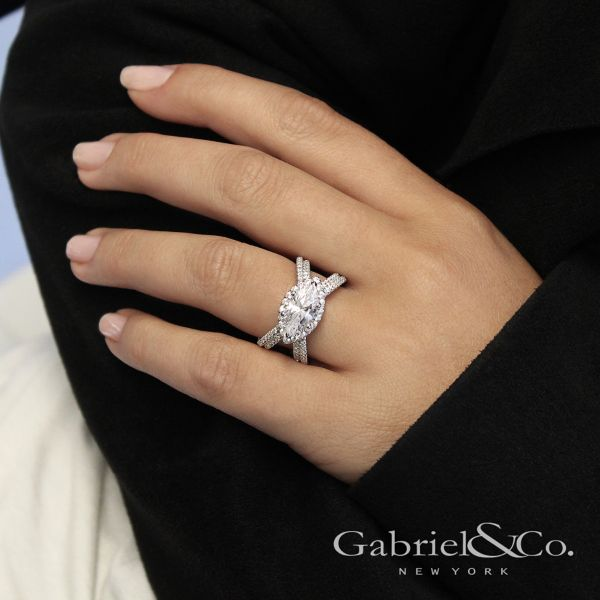 18k White Gold Marquise  Halo Engagement Ring