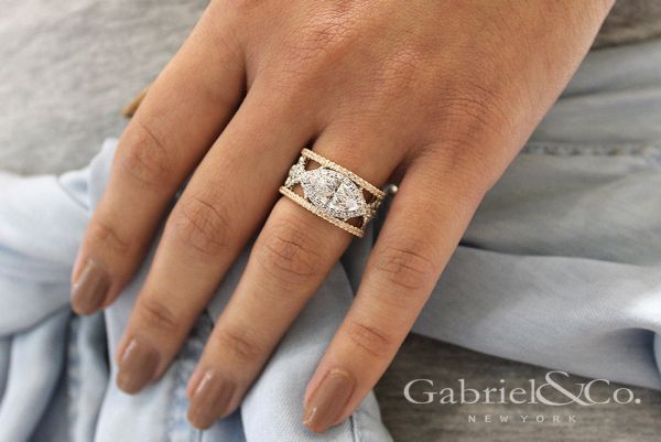 18k White And Rose Gold Marquise  Halo Engagement Ring