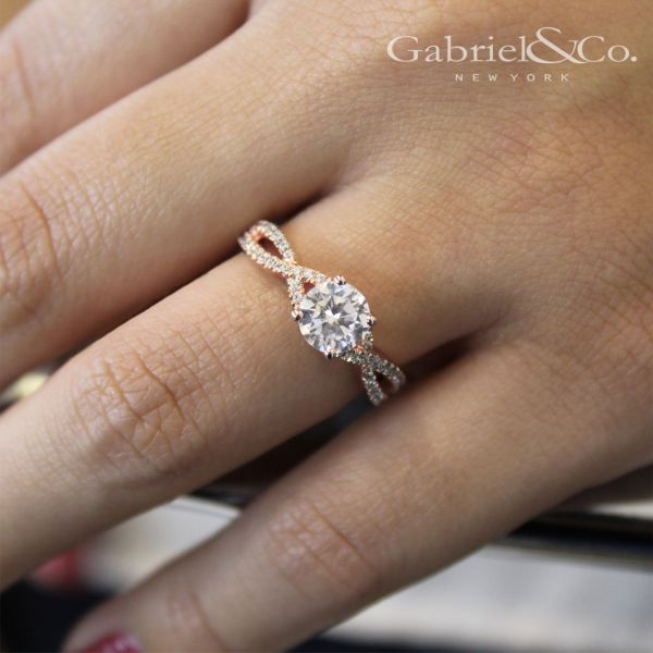 Gina 14k Rose Gold Round Twisted Engagement Ring