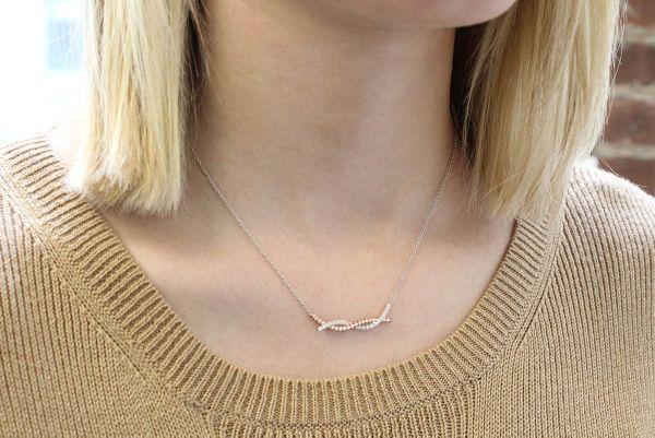 14k Yellow/white Gold Indulgence Bar Necklace