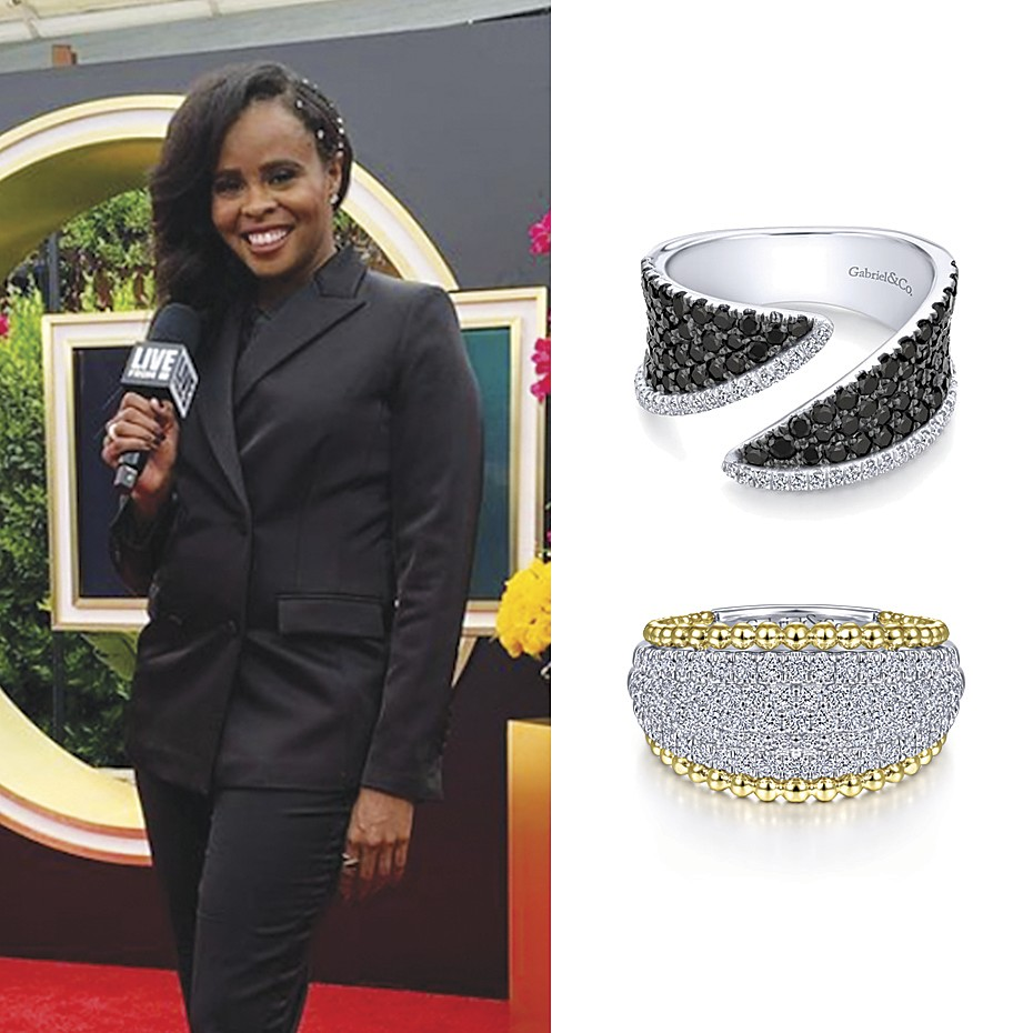 March 2021 Jacqueline Coley, Editor and E! Live From The Red Carpet Correspondent wearing Gabriel & Co's rings for the 93rd Academy Awards