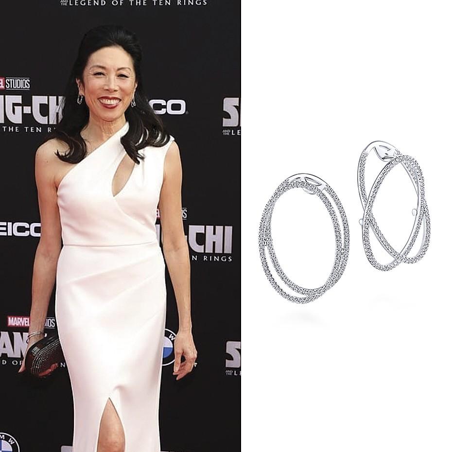 September 2021 Actress Jodi Long  wearing Gabriel & Co.'s 14K White Gold Double Layered 35mm Diamond Intricate Hoop Earrings posted by celebrity stylist Jennifer Austin (12.9K).