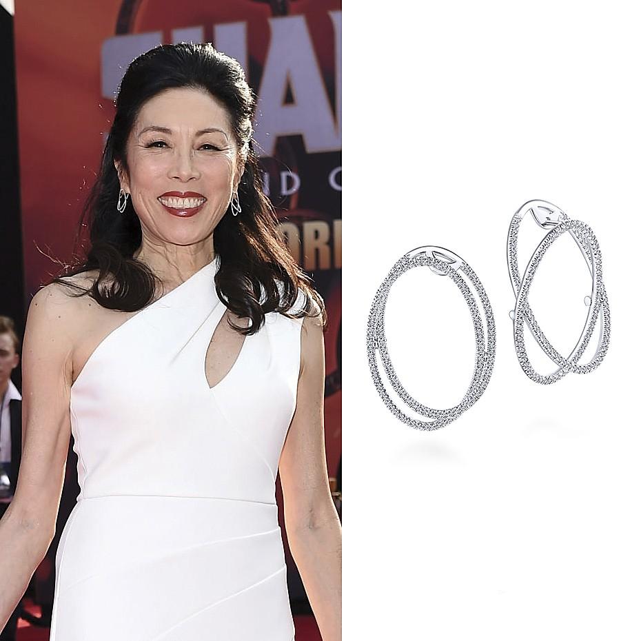 August 2021 Actress Jodi Long wearing Gabriel & Co.'s 14K White Gold Double Layered 35mm Diamond Intricate Hoop Earrings