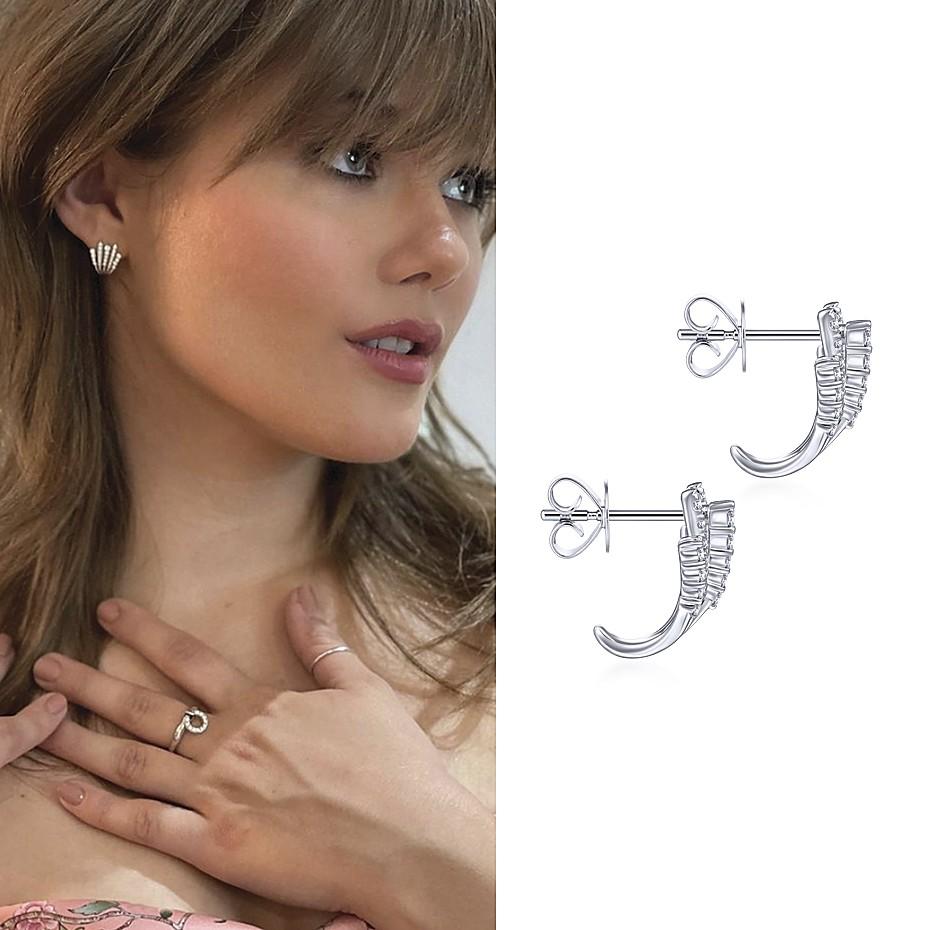 October 2021 Actress Kerri Medders (172K) wearing Gabriel & Co's 14K White Gold Diamond Fan Stud Earrings