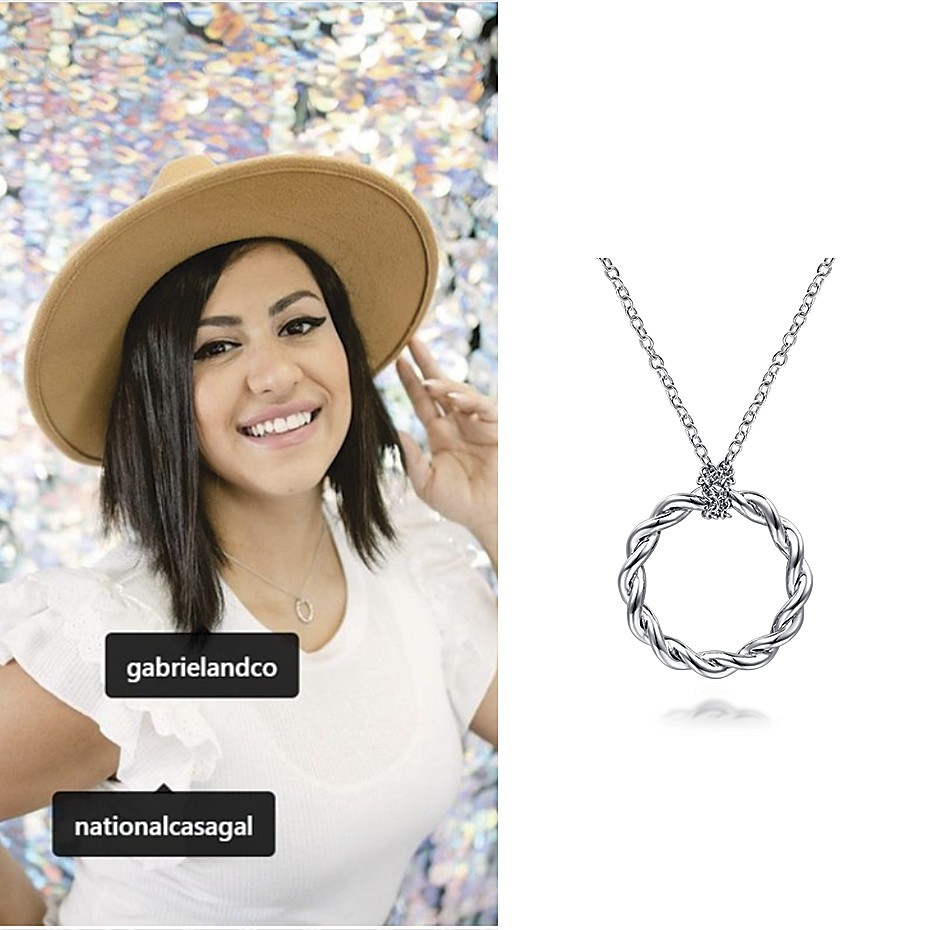 April 2021 Influencer Larissa Belmonte posting and tagging Gabriel & Co's Stronger Together Necklace on her IG feed