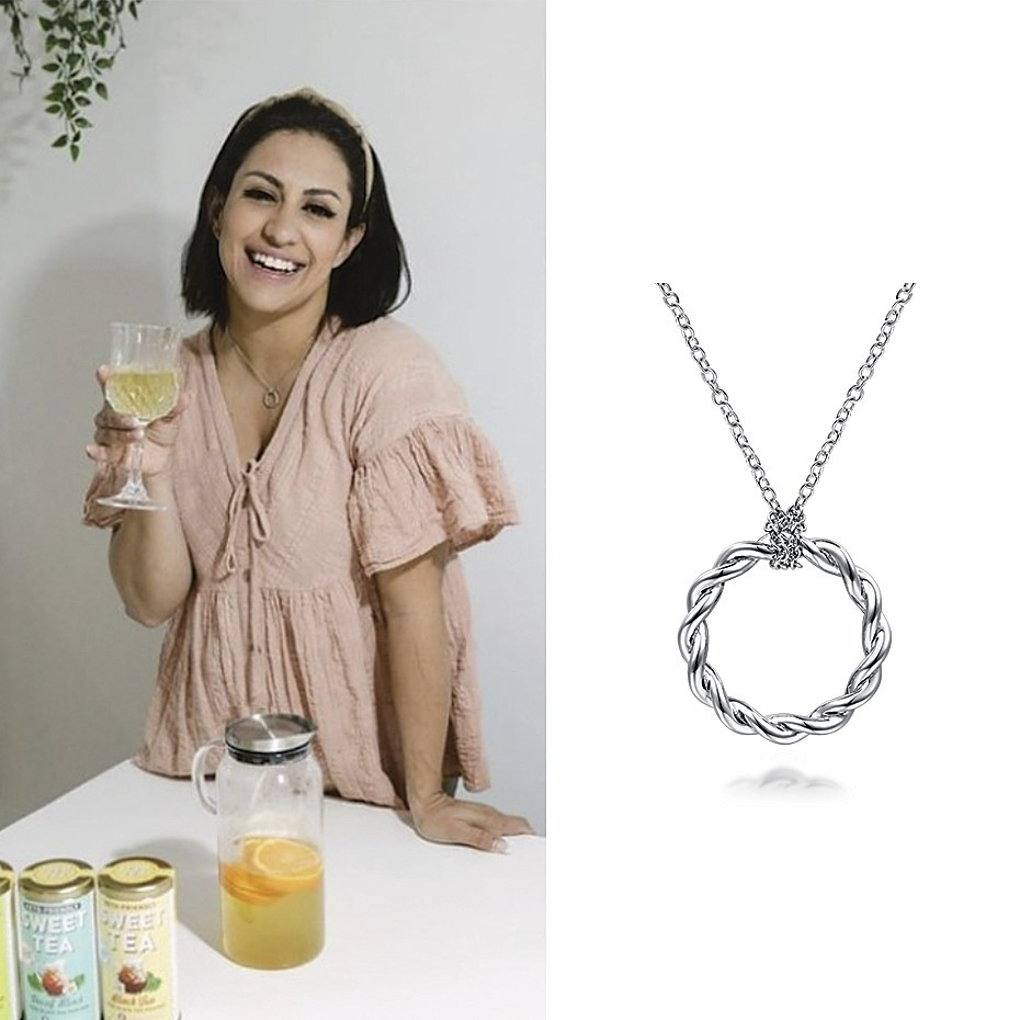 April 2021 Influencer Larissa Belmonte wearing Gabriel & Co's Stronger Together Necklace on her IG feed