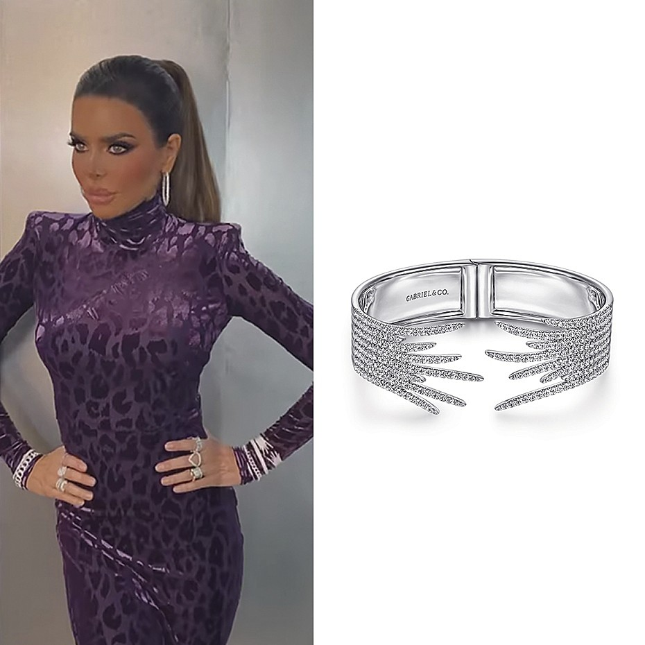 August 2021 Real Housewives of Beverly Hills star, Lisa Rinna wearing Gabriel & Co.'s Split 18K White Gold Fan Diamond Bangle