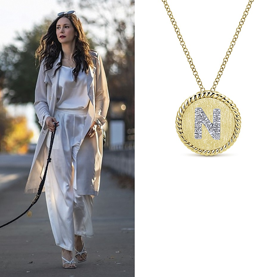 """August 2021 Actress Nina Dobrev (24M) wearing Gabriel & Co's 18"""" 14K Yellow-White Gold Round """"N"""" Diamond Initial Pendant Necklace"""