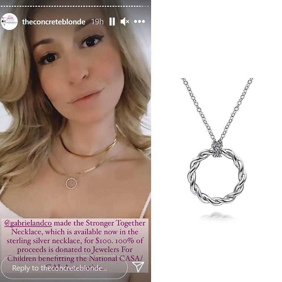 April 2021 Influencer Rachel Hope posting Gabriel & Co's Stronger Together Necklace on her IG stories