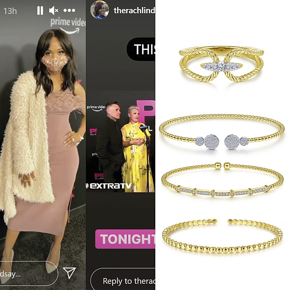 May 2021 TV personality Rachel Lindsay wearing Gabriel & Co's jewelries