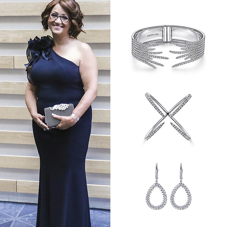 August 2021 Saundra Hayward, mother to Outstanding Writer Emmy nominee, Chuck Hayward III wearing Gabriel & Co's jewelries for the 73rd Annual Emmy Awards