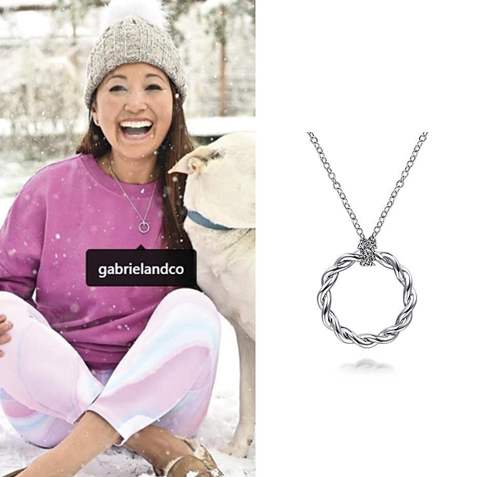 April 2021 Influencer Veena Crownholm posting and tagging Gabriel & Co's Stronger Together Necklace