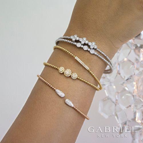 14K Yellow Gold Bujukan Bead Cuff Bracelet with Diamonds angle