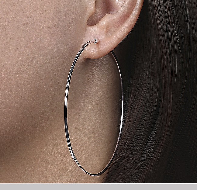White Gold Hoops - Gabriel & Co.