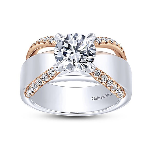 Defined White Gold U0026 Solid Yellow Gold Ring Jackets And An Embracing  Design, Enhances The Shine In Your Engagement Ring.