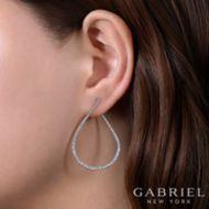 14k White Gold 45mm Intricate Pear Shaped Diamond Hoop Earrings angle